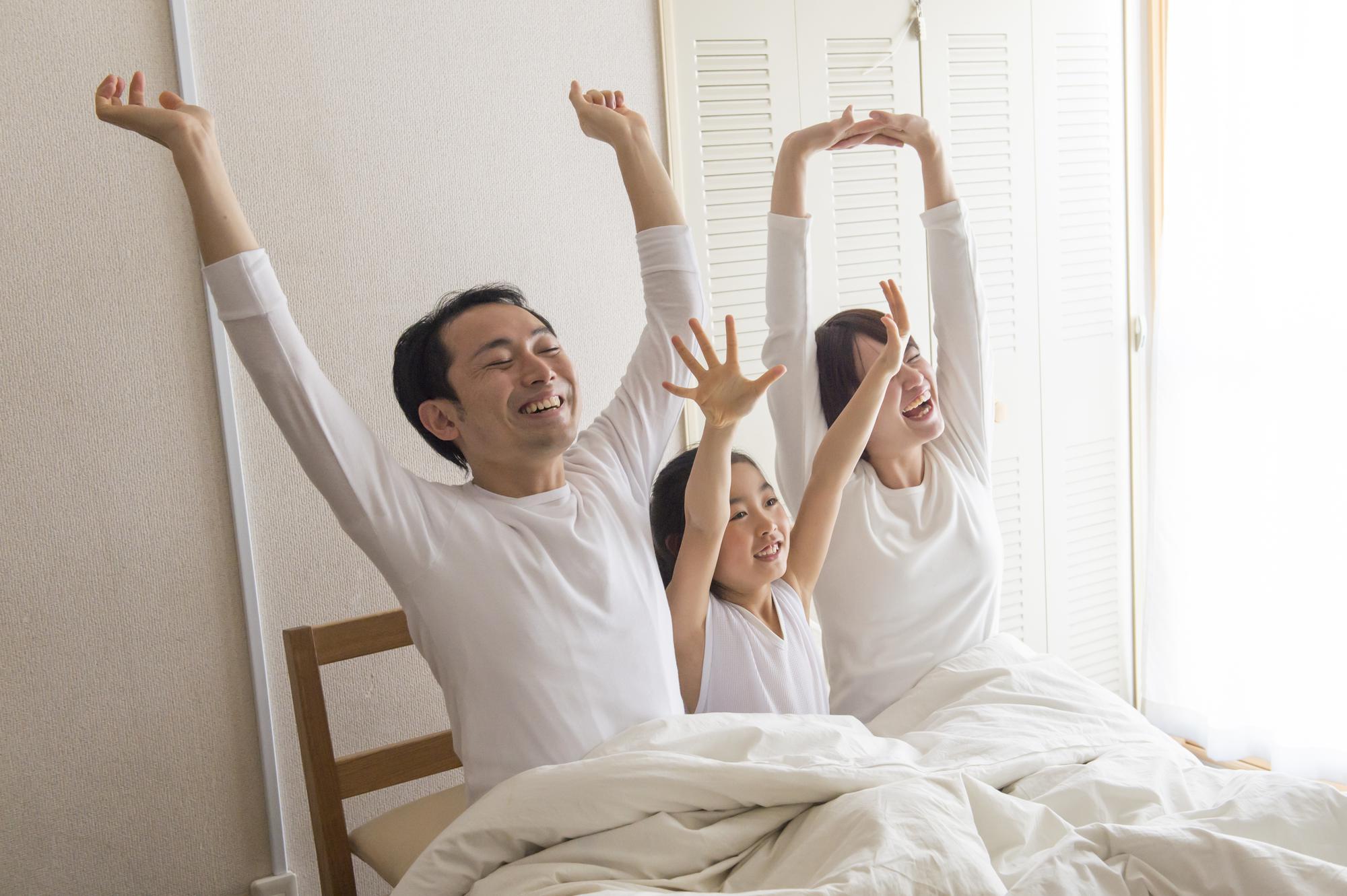 規則正しい生活で快適な目覚めの家族